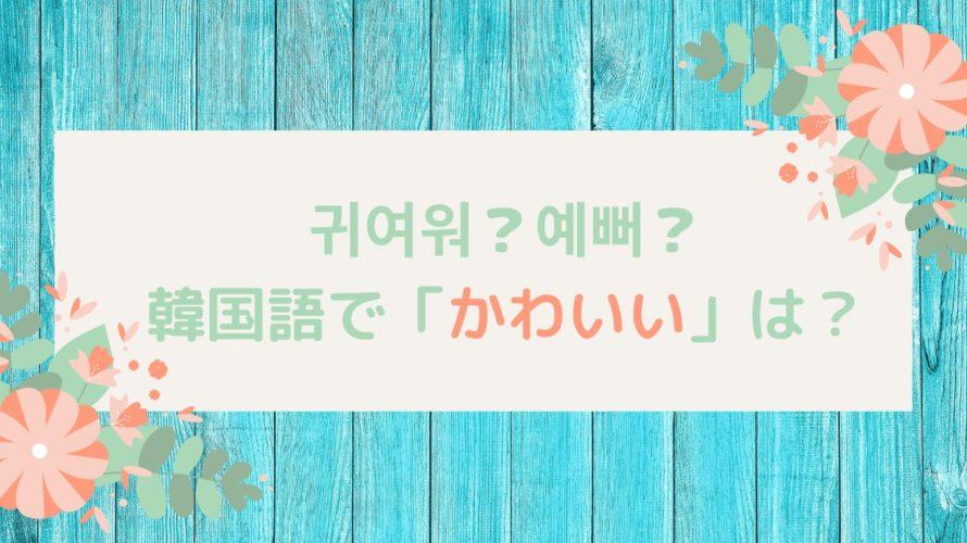 韓国語で「かわいい」は귀여워?예뻐?その違いは?